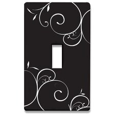 Black and White Swirls Decorative Light Switch Cover - Single Toogle Switch