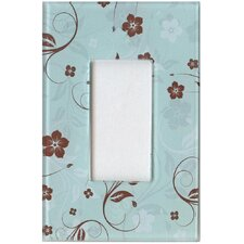 Artitude Chocolate and Mint Floral Decorative Light Switch Cover - Single Rocker Switch