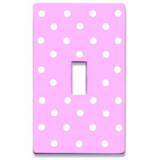 Pink Polka Dots Decorative Light Switchplate Cover - Single Toggle Switch
