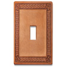 Tooled Leather Decorative Light Switchplate Cover - Single Toggle Switch