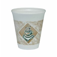 <strong>DART®</strong> 8 oz Foam Hot/Cold Cups Café G Design in White/Brown with Green Accents