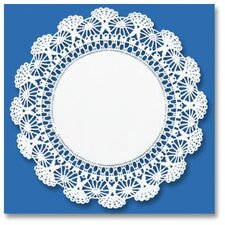 "8"" Round Cambridge Lace Doilies in  White (Set of 8)"
