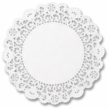 "4"" Round Brooklace Lace Doilies in  White"