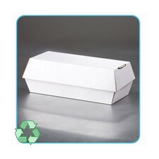 Paper Clamshell Food Containers in White/Tan