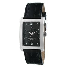 Men's Watch with Black Leather Strap in Silver Tone