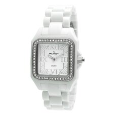 Women's Swarovski Elements Bezel Watch in White Acrylic