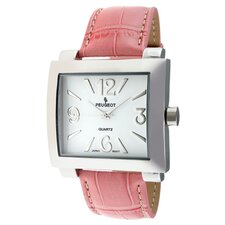 Women's Watch with Pink Leather Strap in Silver Tone