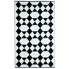 Designer Monte Carlo Black/White Indoor/Outdoor Area Rug