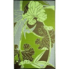 Designer Green/Grey Blossom Indoor/Outdoor Area Rug