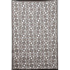 Indoor Outdoor Reversible and Waterproof Omega Brown and White Area Rug