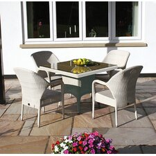 Sussex Square Table and 4 Stackable Armchairs Set