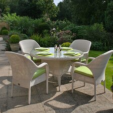 Sussex Round 5 Piece Dining Set with Optional Cushions