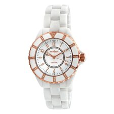 Women's Ceramic Swarovski Crystal Dial Watch in White with Gold Tone Hands
