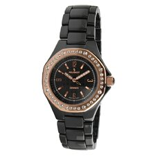 Women's Ceramic Swarovski Crystal Dial Watch in Black with Gold Tone Hands