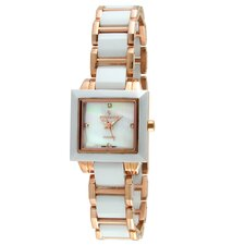 Women's Ceramic Mother of Pearl Dial Watch in White