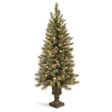 <strong>National Tree Co.</strong> Glittery Bristle Pine 5' Green Pine Entrance Artificial Christmas Tree with 150 Soft White LED Lights with Urn Base