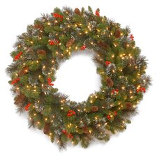 "Crestwood Spruce Pre-Lit 30"" Wreath with 50 Battery-Operated White LED Lights"