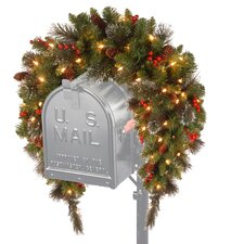 Crestwood Spruce Pre-Lit 3' Mailbox Cover with 50 Battery-Operated White LED Lights