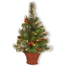Crestwood Spruce 3' Green Half Artificia Christmas Tree with 50 Colored White Lights with LED