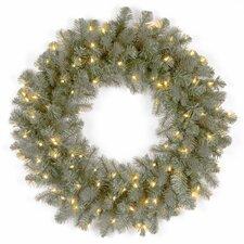 "Douglas Pre-Lit 24"" Downswept Blue Fir Wreath"