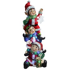 Stacking Elves Holding Snowflake