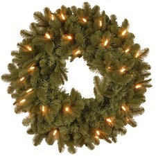 "Noble Deluxe Fir Pre-Lit 24"" Wreath"