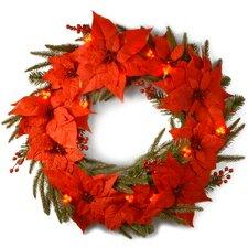 "Pre-Lit 24"" Poinsettia Wreath"