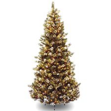 Glittery Pine 7.5' Brown Slim Hinged Pine Artificial Christmas Tree with 500 Pre-Lit Clear Lights with Stand