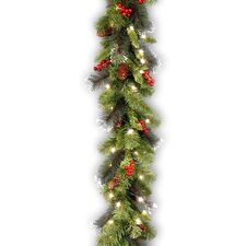 "Crestwood Spruce Pre-Lit 9' x 10"" Garland with 50 Battery-Operated White LED Lights"