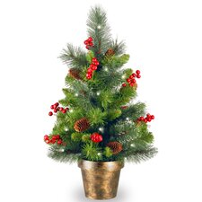 Crestwood Spruce 2' Green Small Artificia Christmas Tree with 35 Colored & White Lights with LED
