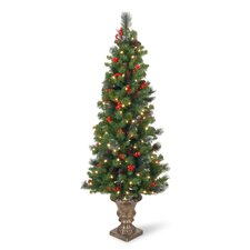Crestwood Spruce Entrance 5' Green Artificial Christmas Tree with 150 Pre-Lit LED Lights with Urn Base