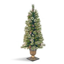 Glittery Pine 4' Green Entrance Artificial Christmas Tree with 100 Pre-Lit Clear Lights with Urn Base