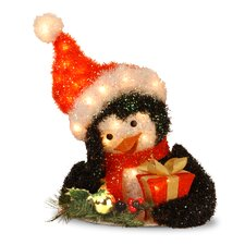 <strong>National Tree Co.</strong> Pre-Lit Tinsel Penguin Holding Gift
