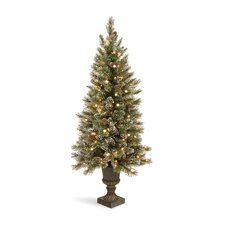 Glittery Bristle Pine 5' Green Pine Entrance Artificial Christmas Tree with 150 Soft White LED Lights with Urn Base