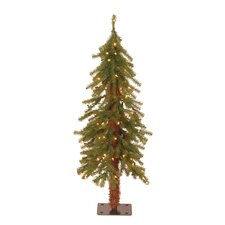 3' Green Hickory Cedar Artificial Christmas Tree with 50 Pre-Lit Lights