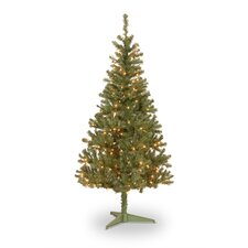 Pre-Lit 6' Canadian Grande Fir Artificial Christmas Tree with 200 Pre-Lit Clear Lights with Stand