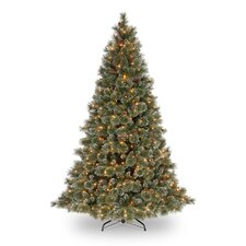 <strong>National Tree Co.</strong> Glittery Bristle Pine 7.5' Green Artificial Christmas Tree with 750 Pre-Lit Clear Lights with Stand