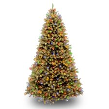 Douglas Fir Downswept 7.5' Beige Artificial Christmas Tree with Multi-Colored Lights with Stand