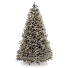 "Douglas 7' 6"" White Downswept Fir Artificial Christmas Tree with 750 Pre-Lit Clear Lights with Stand"