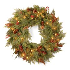 "Pre-Lit 30"" Cedar Mixed Pine Wreath"