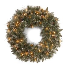 "<strong>National Tree Co.</strong> Glittery Bristle Pine Pre-Lit 30"" Wreath"