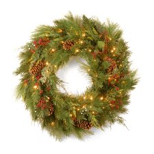 "<strong>National Tree Co.</strong> White Pine Pre-Lit 30"" Wreath"