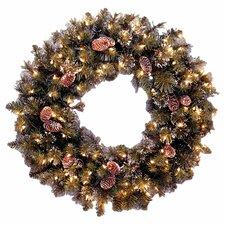 """Glittery Bristle Pine Pre-Lit 24"""" Wreath"""