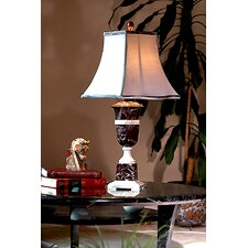 "Burgundy and Ivory Marble 31"" H Table Lamp"