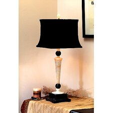 Cream and Black Marble Table Lamp