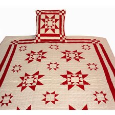 Ohio Star Ecru Red Tea Dyed Quilt