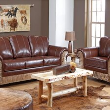 <strong>Verona Furniture</strong> Saddle Me Up Leather Sofa and Chair Set