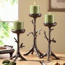 3 Piece Twig Coll Pillar Candlestick