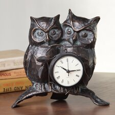Nighttime Love Owl Pair Clock