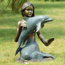 Mermaid and Dolphin Garden Statue